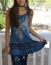 VOCAL CRYSTAL CROSS BLUE LACE MINERAL WASHED TUNIC TANK TOP SHIRT S M L XL