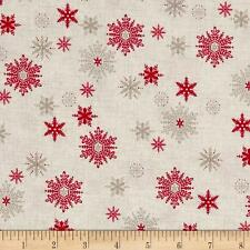Scandi 3 Christmas Quilt Fabric Snowflakes Linen  Makower UK Premium Cotton