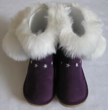 GYMBOREE Fair Isle Sparkle Boots 9 10 New Girl Winter Suede Fur Purple Snowflake