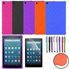 For 2016/2017 Amazon Kindle Fire HD 8 Soft Silicone/Gel/Rubber Case Cover + Film