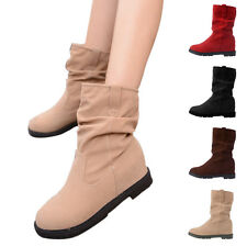 Ladies Flat Slouchy Suede Low Heel Wedge Mid-Calf Boots Casual Winter Warm Shoes