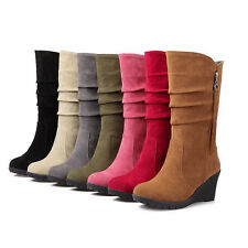 Ladies Cuff Slouchy Mid-Calf Suede Flat Heel Boots Block Heels Side Zipper Shoes