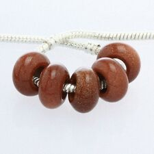 Wholesale Gold Sand Stone Gemstone 8x14mm Large Hole Beads Fit Charms Bracelet
