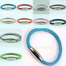 Braided Rope PU Leather Magnetic Stainless Steel Clasp Bracelet Bangle Wristband