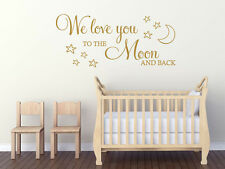 "Childs Wall Quote ""We Love You To The Moon And Back"" Wall Art Sticker, Decal"