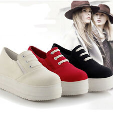 Women Lace up Sports Loafer Canvas Comfort Flats Slip On Sneakers Casual Shoes