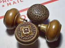 Antique 1920's Eastlake Style Brass Door Knobs (4) All Original And Beauties!