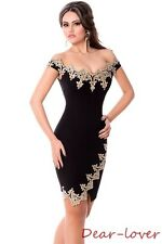 Gold Lace Applique Sexy Off Shoulder Women Fitted Cocktail Evening Mini Dress