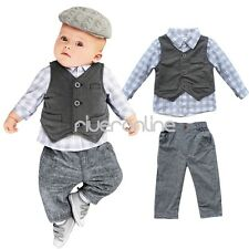 3pcs Gentleman Outfit Suit Set Newborn Baby Boy Waistcoat + Pants+ Shirt Clothes