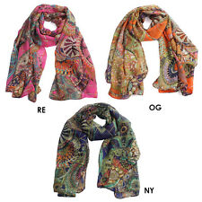 Print Girl Lady Women's Long Soft Wrap Lady Shawl Cotton Chiffon Scarf Scarves