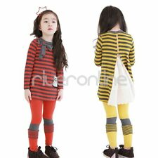 Girls Kids Outfit Clothes Cute Bowknot Zipper Back Striped Top Pants Leggings