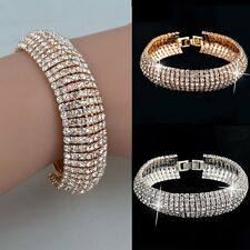 Fashion Women Lady Crystal Rhinestone Cuff Bracelet Bangle Wedding Jewelry Gift
