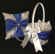Royal Blue Silver White or Ivory Wedding Ring Bearer Pillow Flower Girl Basket