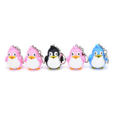 Cute Animal Penguin LED Light With Sound Key Chain Keyring Ring Torch Gift ToyLA