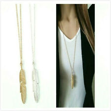 Trendy Women Lady Feather Leaf Pendant Sweater Long Chain Necklace Jewelry Gift