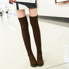 Hot thread knitting High Leg Boots Womens Nubuck Leather Above the knee Shoes