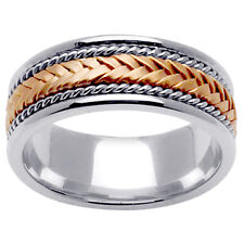 14K Two Tone White Yellow Gold Hand Braided Wedding Ring Band 8mm (WJRL01404)