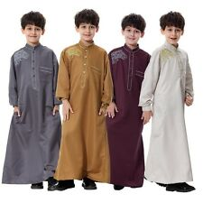 Child Boys Saudi Style Thobe Thoub Robe Daffah Dishdasha Islamic Arabian Kaftan