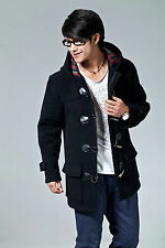 New Men's Outwear Trench Jacket SIZE Wool Blend Hooded Duffle Toggle Coat