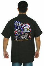 Men's Biker Mechanic Work Shirt USA Flag American Pride Motorcycle Bald Eagle