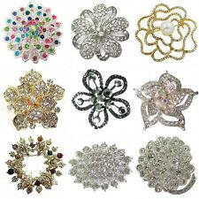 Silver Flower Brooch Pin Vintage Bouquet Diamante Crystal Bridal Gift Jewellery
