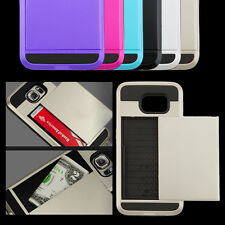 Hybrid Armour Hard Back Card Storage Slide Case Cover For Samsung S6 UK Stock HT