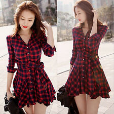 Casual Women Red Plaids Check Blouse Long Sleeve Swing Hem Dress Shirts US Best