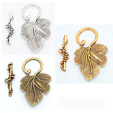 10 Sets Wholesale Silver Gold Brass Grape Leaf Toggle Clasps For Jewelry Making