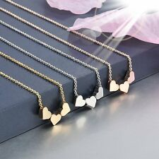 Three Heart LOVE Women Rose Gold Jewelry Charms Pendant Chain Necklace Jewelry