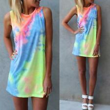 Summer #L Sexy Women Sleeveless Party Dress Cocktail Colorful Casual Mini Dress
