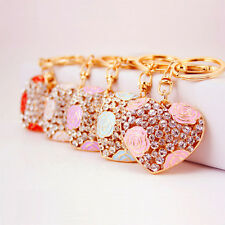 Cute Dazzling Love Big Heart Keyring Crystal Charm Pendant Key Bag Chain Gift