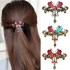 Women Crystal Butterfly Hair Clip Vintage Hair Claw Barrettes Hair Accessories