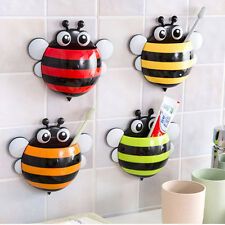 Home Bathroom #L Creative Cute Bee Powerful Suction Toothbrush Holder Toothpaste
