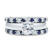 BERRICLE Sterling Silver Princess CZ Solitaire Engagement Ring Set 2.92 Carat
