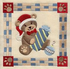 CHRISTMAS TEDDY BEAR SQUARE HOLIDAY MACHINE EMBROIDERED QUILT BLOCK (HP)