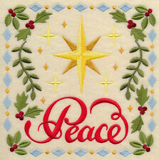 CHRISTMAS PEACE STAR SQUARE HOLIDAY MACHINE EMBROIDERED QUILT BLOCK (HP)