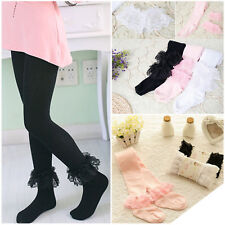 Kids Girls Fashion Floral Lace Cotton Pantyhose Dancing Tights NEW