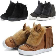Womens New Rabbit Fur Sneakers Suede Leather Wedge Winter Ankle Boots Shoes