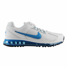 New Mens Nike Air Max 2013 Leather Running Training Shoes White/Blue MSRP $160