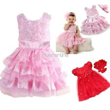 Baby Girl Infant Baptism Lace Tutu Dress Flower Birthday Party Headband Outfits