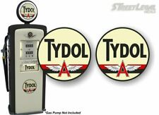"2 Vintage TYDOL Gasoline Antique Gas Pump 9"" Decals Flying A Pumps Sign Sticker"