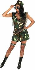 Ladies Army Girl Costume For Military Soldier Fancy Dress Adults Womens