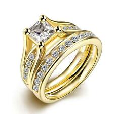 Shiny Crystal Rhinestone Wedding Couple Lover Finger Ring Set Gold Women Gift