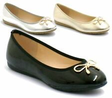 NEW WOMENS FLAT PUMPS LADIES METTALIC BALLET BALLERINA DOLLY BRIDAL SHOES SIZE