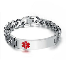 Surgical Stainless Steel Medical Alert ID Symbol Bracelet Mens Jewelry Gift