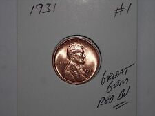 wheat penny 1931 SHARP GEM RED BU 1931-P SEMI-KEY LINCOLN CENT LOT #1 RED UNC