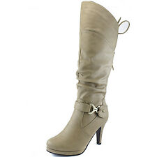 Women's Knee High Side Buckle Round Toe Lace-Up Slouch High Heel Fashion Boots