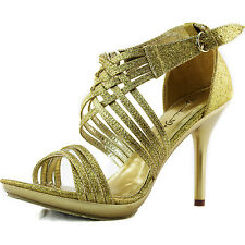 Open Toe Sandals Strappy Gladiator Style Sparkle Glitter High Heel Evening Shoes