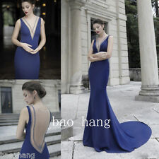 Sexy V Neck Mermaid Evening Party Prom Dresses Blue Sheer Back Formal Ball Gowns