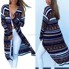 Women Long Sleeve Geometric Cardigan Open Shawl Coat Boho Beach Bikini Cover Up